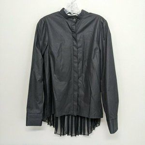 Derek Lam 10 Crosby Top Black Button Up Sheer